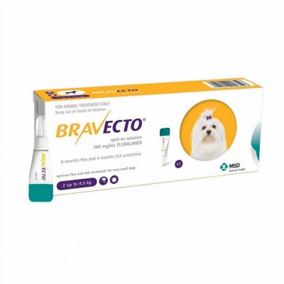 Bravecto Spot On Xs 112,5 Mg 2-4,5 Kg 1p